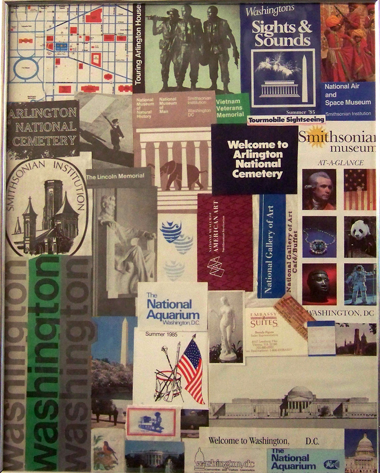 Washington DC collage of mementoes.