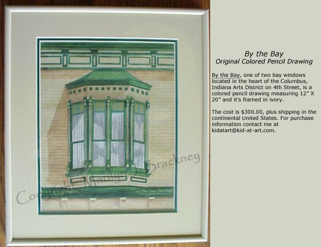 window pencil drawing. art deco window original colored pencil drawing b